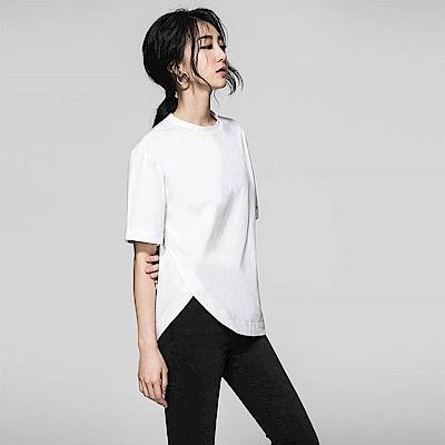 SUITANGTANG 下擺開岔短袖上衣-共2色-白色