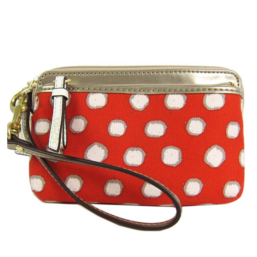 COACH POPPY點點雙拉鍊手拿包(紅) @ Yahoo 購物