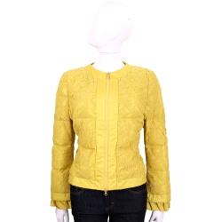 BOSIDENG 黃色拼接蕾絲長袖鋪棉外套