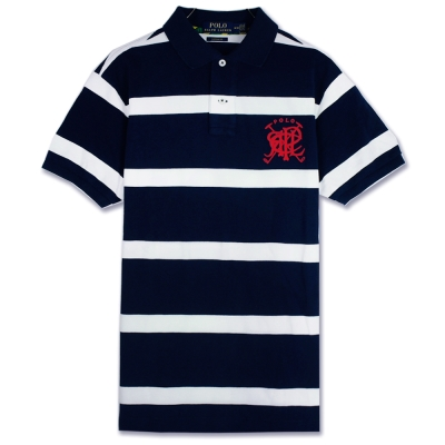 Ralph Lauren 疊字LOGO條紋POLO衫(墨藍)