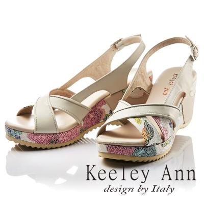 Keeley Ann 春意盎然~印花時尚寬版交叉拼接真皮楔形涼鞋(米色)