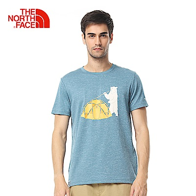 The North Face北面男款深藍色吸濕排汗戶外短袖T恤