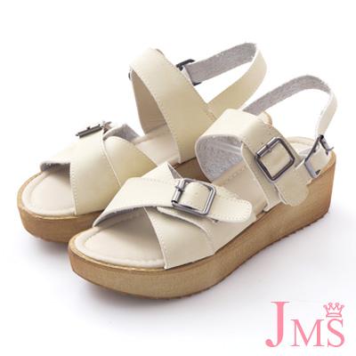 JMS-悠閒步調穿搭推薦大交叉寬版搭扣厚底涼鞋-米色