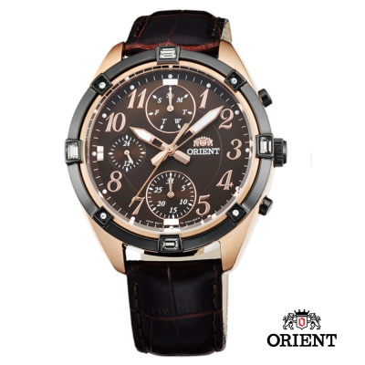 ORIENT 東方錶 SPORTY DESIGN系列 運動三眼計時錶-咖啡色/38.5mm