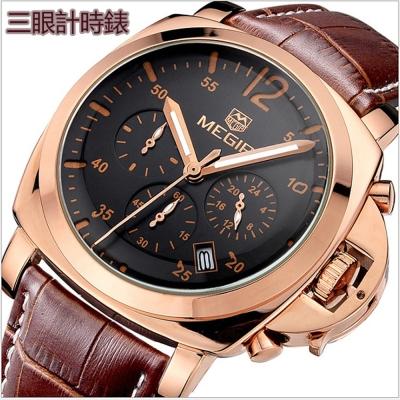 美國熊 大錶面  商務男士 三眼計時 日期顯示 腕錶
