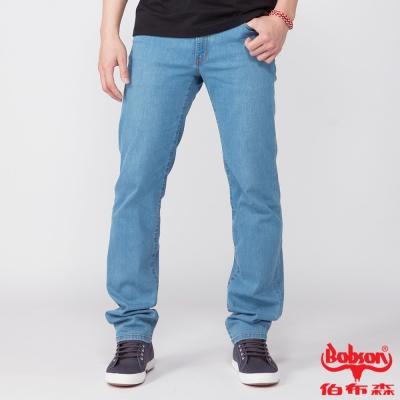 BOBSON 男款低腰膠原蛋白彈性直筒褲(淺藍1790-58)