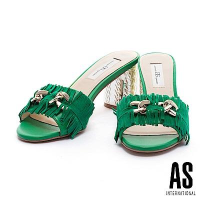 拖鞋 AS 復古時尚流蘇飾釦設計羊麂皮金屬高跟拖鞋-綠
