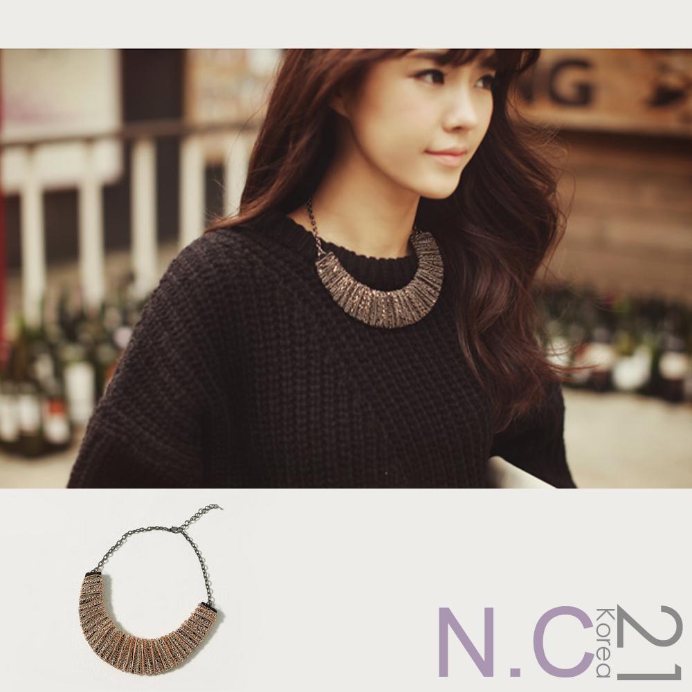 【N.C21】華麗半月金屬纏繞項鍊 (金色)