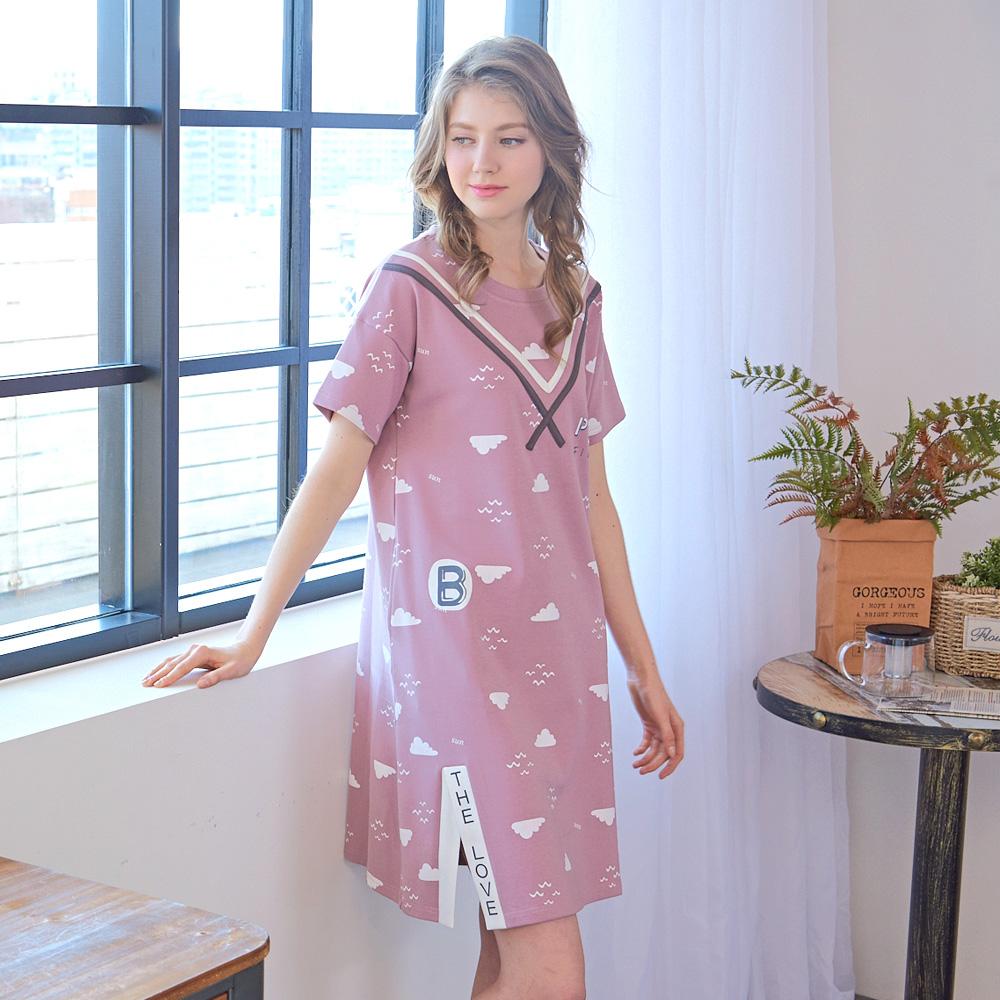睡衣 海鷗水手風短袖連身睡衣 (R75052-7 豆沙粉) 蕾妮塔塔