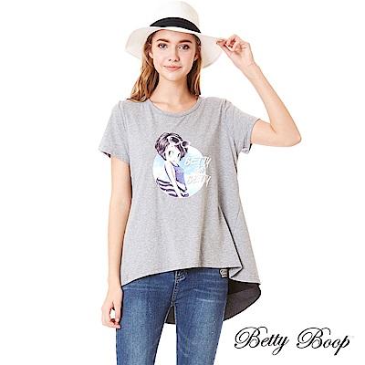 Betty Boop貝蒂 印圖後開衩拼雪紡彈性上衣(共兩色)