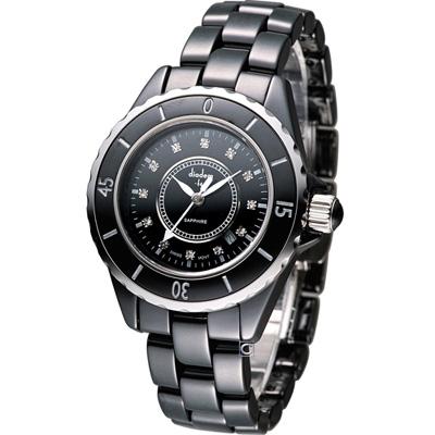 Diadem 黛亞登 F4 時尚陶瓷腕錶-黑/34mm