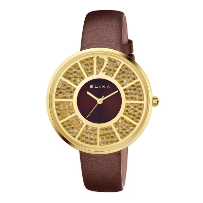 ELIXA Finesse簡約晶鑽錶面幾何刻度系列 奢華金40mm
