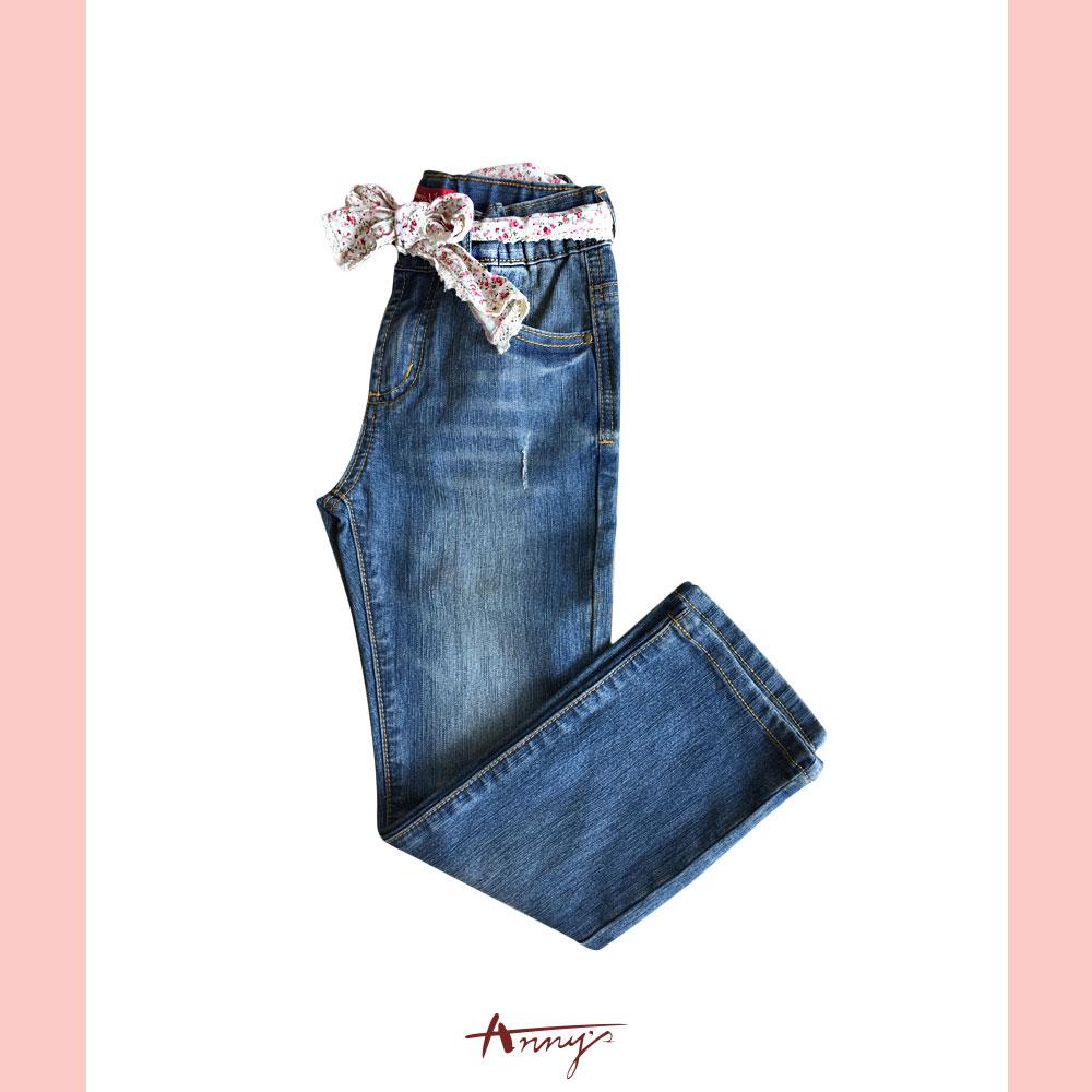 甜美蕾絲碎花腰帶造型牛仔長褲*2336藍