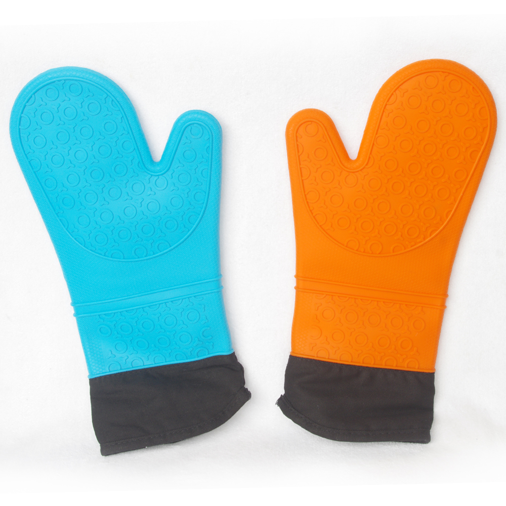 加長型雙層耐高溫防水矽膠手套一對 藍/橘 隨機出貨