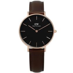 DanielWellington Classic經典真皮手錶-黑x玫瑰金x深咖啡/32mm