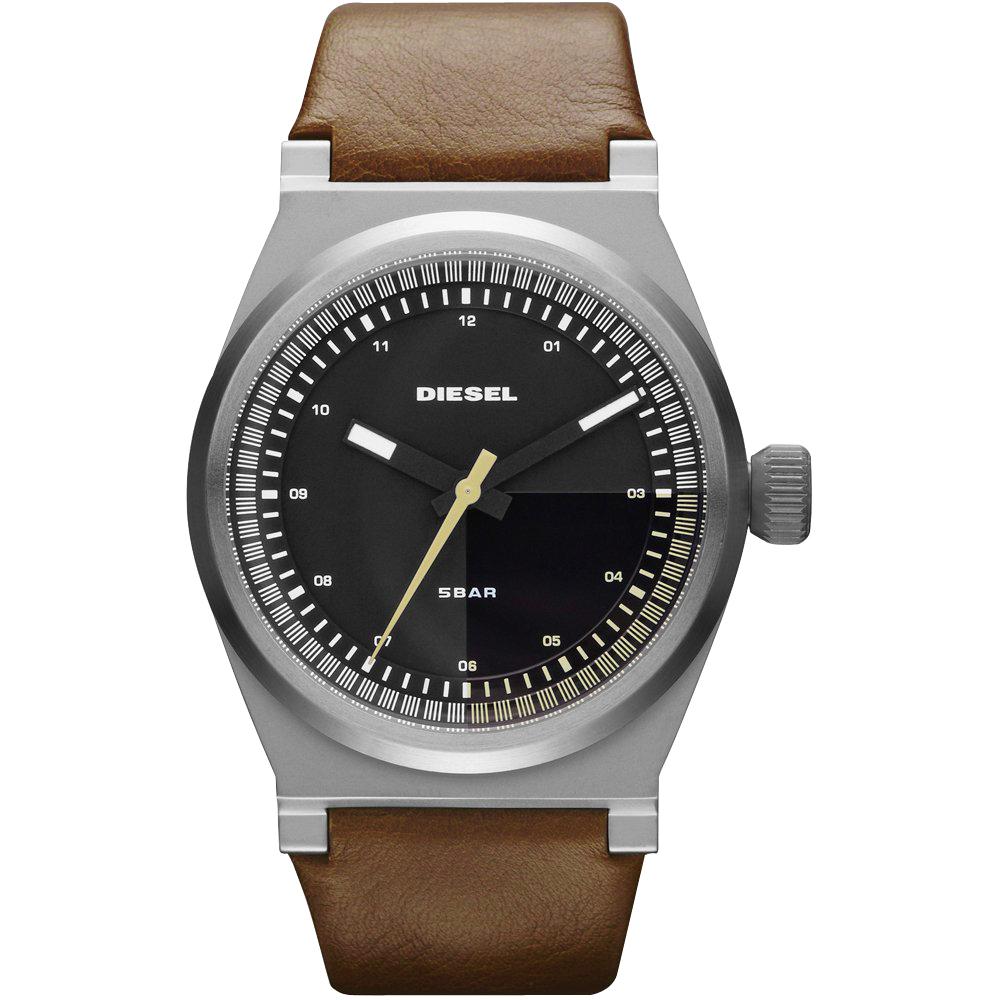 DIESEL 探索雷達個性腕錶-咖啡/皮帶/43mm