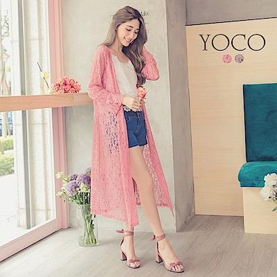 東京著衣-yoco 迷人透肌附綁帶蕾絲長版罩衫外套-S.M.L(共二色)