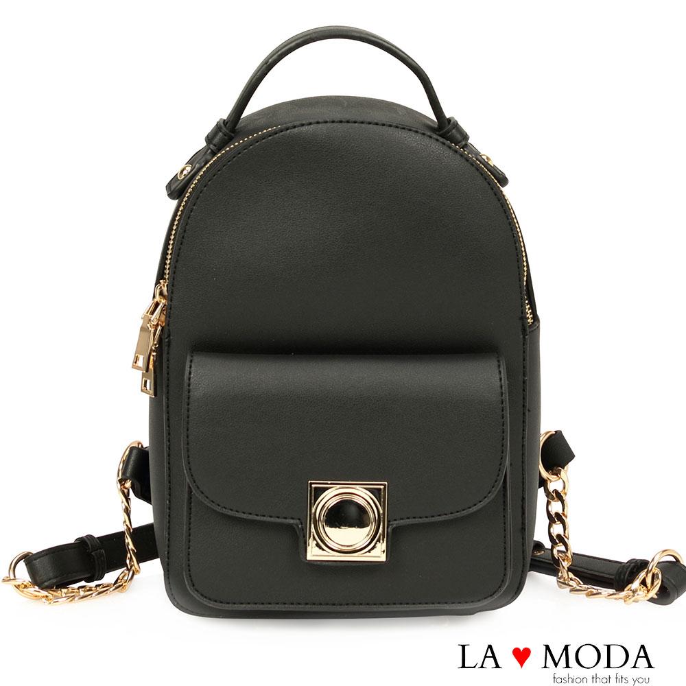 La Moda出遊逛街必備設計感硬挺百搭後背包黑