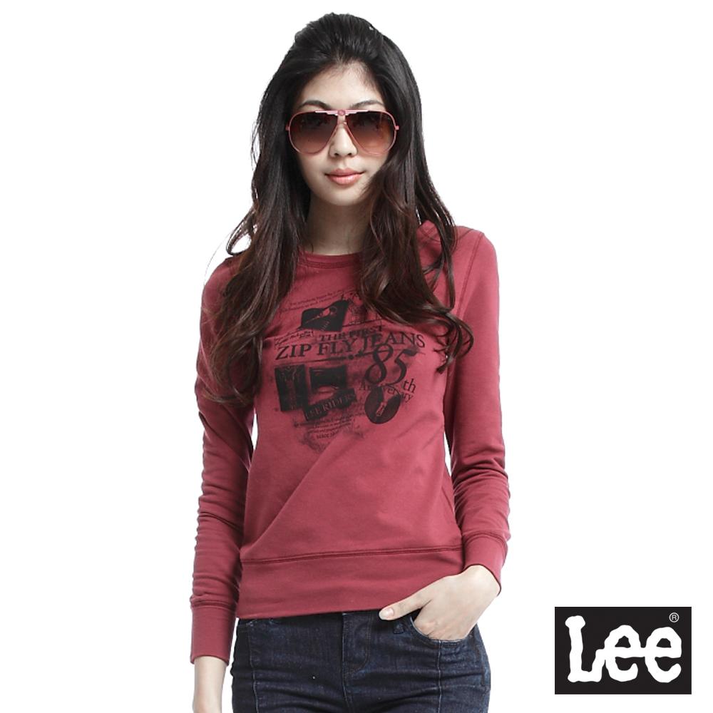 Lee 長袖T恤 圓領文字圖案印花-女款(暗紅)