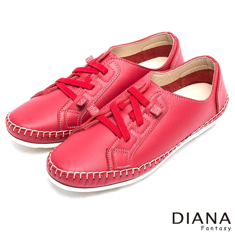 DIANA素雅立體車線鬆緊帶真皮懶人鞋-現代潮流-紅