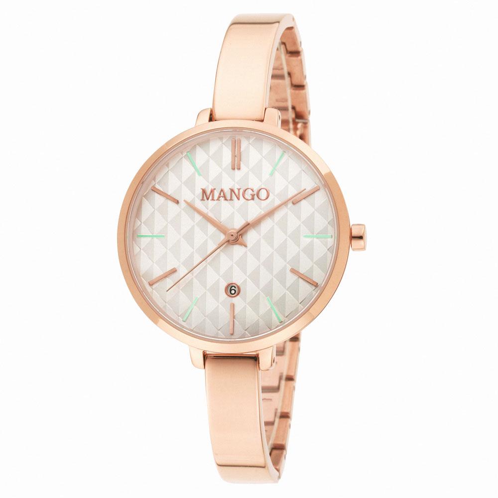 MANGO 簡約優雅不鏽鋼練錶-白×玫瑰金-34mm