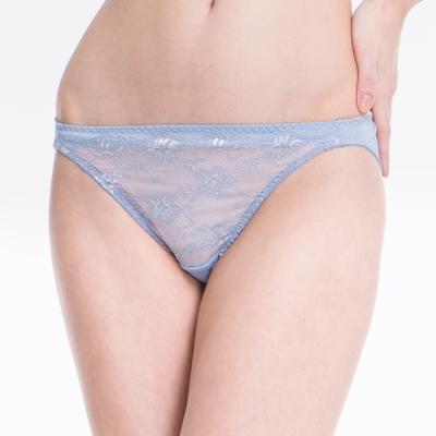 思薇爾 花雛系列蕾絲低腰三角褲(灰藍色)