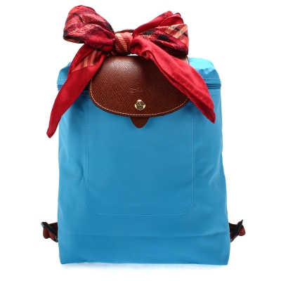 Longchamp Le Piage拉鍊尼龍後背包-蔚藍色(加贈帕巾)