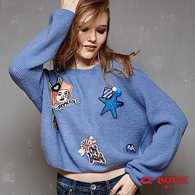 ETBOITE 箱子 BLUE WAY 嬉皮街頭風趣味貼標針織毛衣-藍