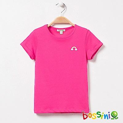 bossini女童-素色純棉圓領T恤01玫瑰色
