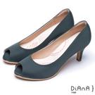DIANA 漫步雲端輕盈美人款—日系原色防潑水羅馬紋魚口跟鞋 –灰藍