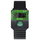 CLICK TURN 創意電路板個性電子腕錶-黑鋼綠