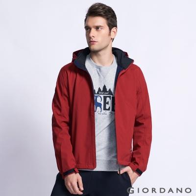 GIORDANO 男裝防風保暖搖絨連帽修身夾克外套 - 24 標誌紅