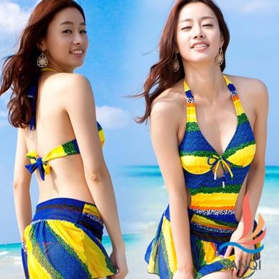 SANQI三奇 港灣派對 二件式連身裙泳裝(藍M~XL)