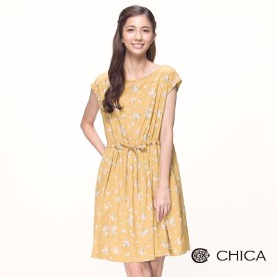 CHICA 南法鄉村風滿版印花落肩碎花洋裝(2色)