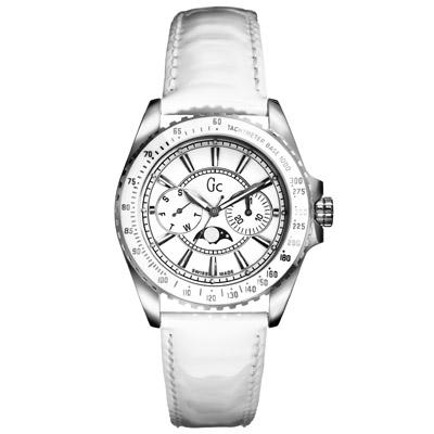 Gc Medium 優雅時尚雙眼月相腕錶-白/32mm