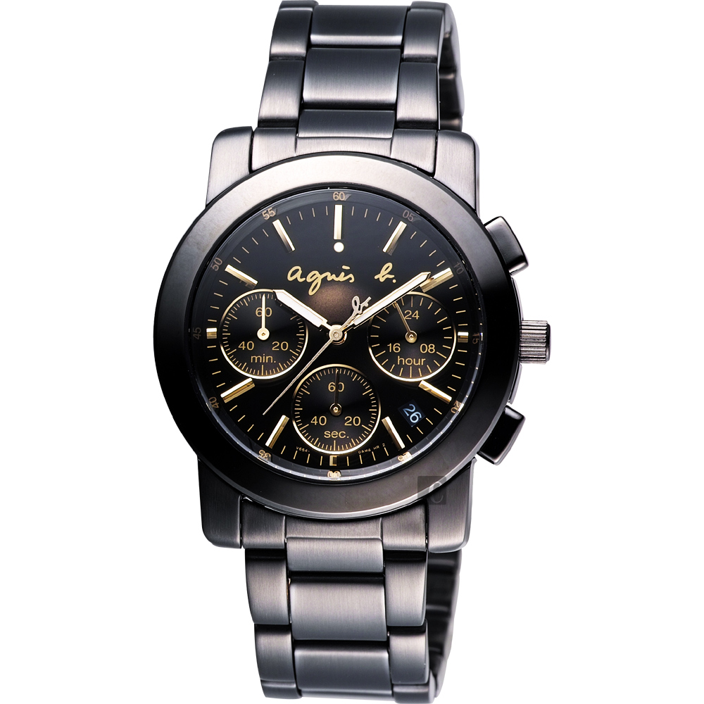 agnes b. 魔幻煥彩三眼計時腕錶(BT3033X1)-38mm