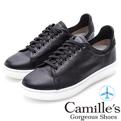 Camille's 韓國空運-正韓製-牛皮洞洞綁帶內增高休閒鞋-黑色
