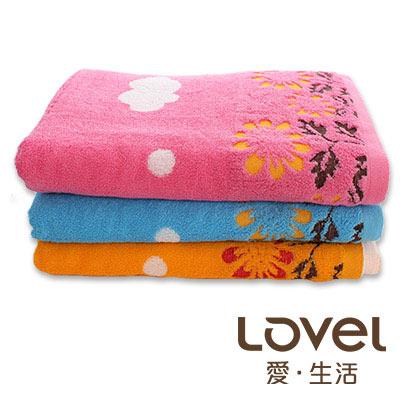 Lovel夏日雲朵小花精梳棉浴巾2入組