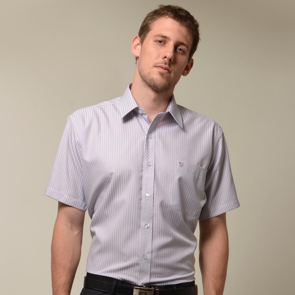 【金安德森】紫色條紋門襟斜紋短袖襯衫