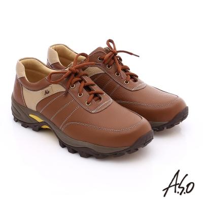 A.S.O 前彈性後避震II 壓紋真皮綁帶奈米休閒鞋 茶
