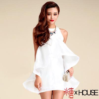 不規則立體荷葉亮緞連身裙 (白色)-糖 x House