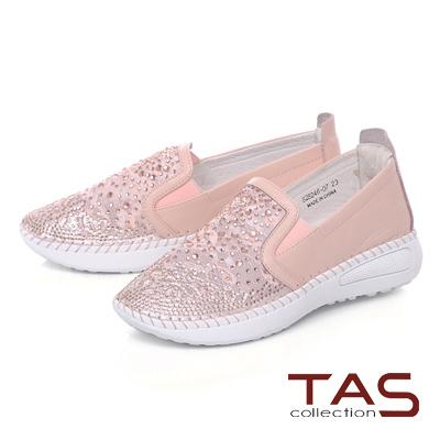 TAS水鑽透膚網布拼接縫線休閒鞋-氣質粉