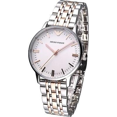 ARMANI 極簡經典風仕女腕錶-白x雙色版/32mm