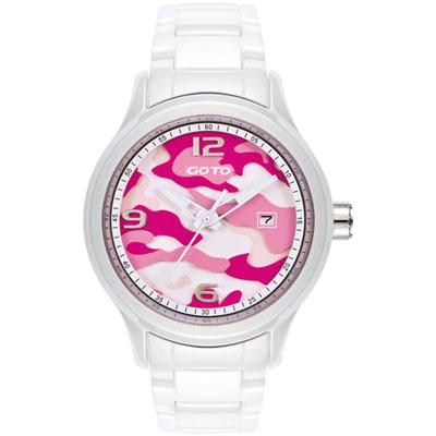 GOTO NO.7系列層次迷彩陶瓷腕錶-粉紅x白/42mm