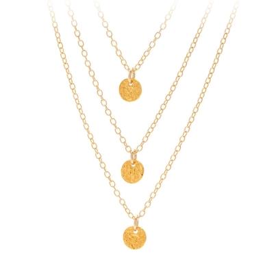 GORJANA 手工波浪紋 幸運錢幣金色項鍊 優雅三層設計