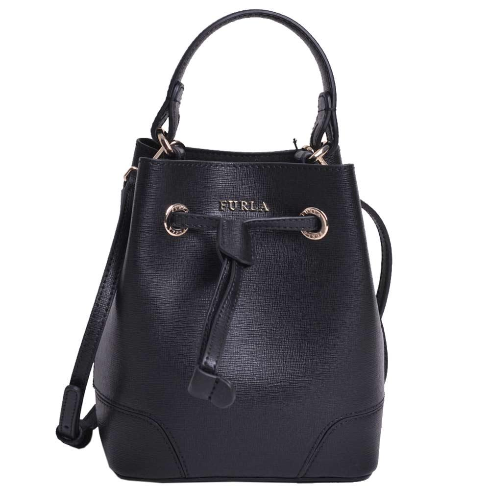 FURLA STACY BUCKET BAG 防刮皮革兩用小水桶包(MINI/黑)