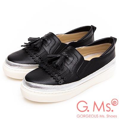 G.Ms. MIT系列-流蘇拼接雙色牛皮厚底休閒鞋-黑色