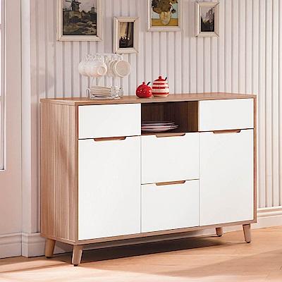 H&D 肯特詩雙色4尺碗盤櫃 (寬109.1X深40X高82.1cm)