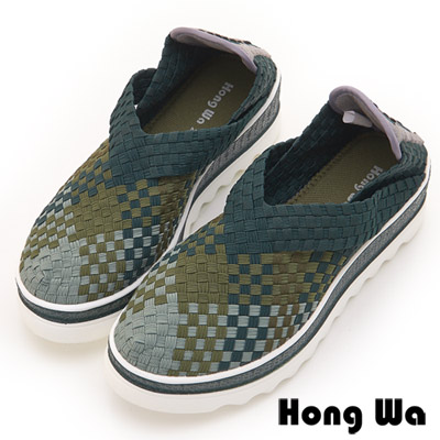 Hong Wa 休閒設計手工感V口造型漸層編織械型包鞋 - 墨綠