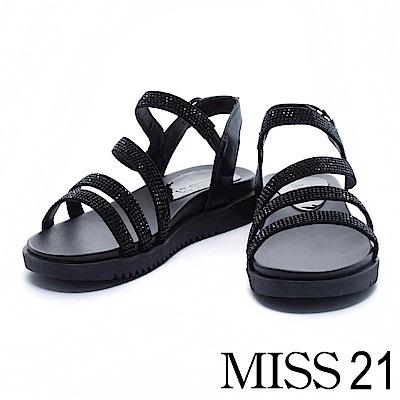 涼鞋 MISS 21 奢華水鑽條帶異材質拼接厚底涼鞋-黑